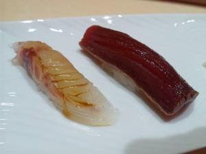 鮨四季の味 しおん 鯛(昆布〆)と鮪(ヅケ)